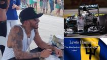 Lewis Hamilton Drag Racing a Bike at The Barbados Festival of speed 2016