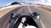 Stig driving BAC Mono at Top Gear Festival Barbados