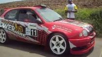 First timer to Barbados Eddie Power Toyota Corolla WRC Start