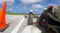Chain lets go in battle for the lead - karting in Barbados