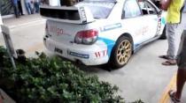 Subaru Impreza WRC starts up and drives away