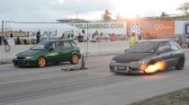 Flame Spitting Mitsubishi Mirage (BADD Drag Warz - Round 1)